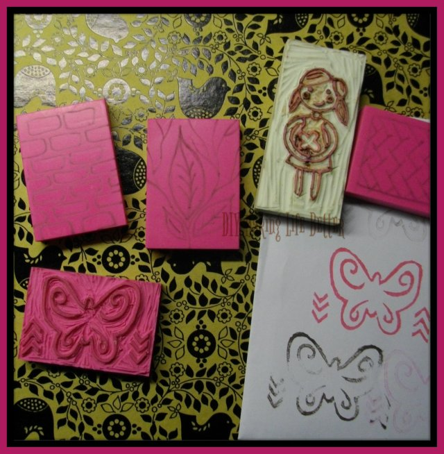 butterfly and girl stamp