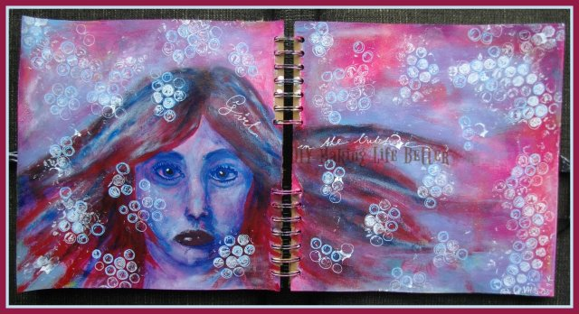 'Girl in the bubble' - Acrylic paint and Posca markers. Stamping with acrylic paint on bubble wrap ;)